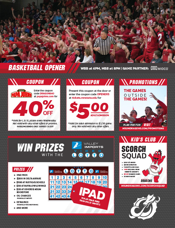 Minnesota State University Moorhead Basketball We-Prints Plus Newspaper Insert by Any Door Marketing