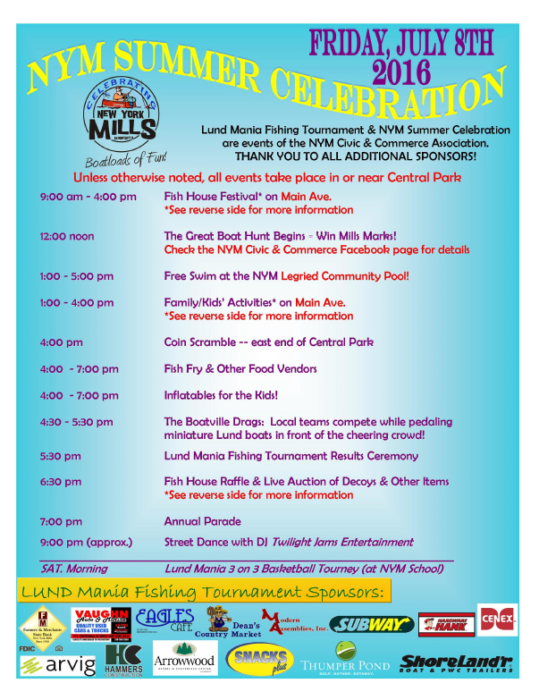 New York Mills Summer Celebration We-Prints Plus Newspaper Insert, Any Door Marketing