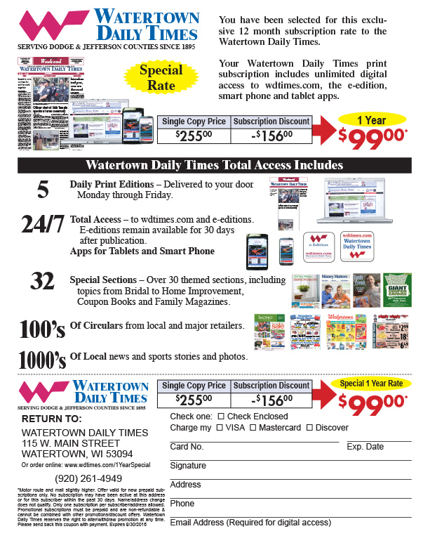 Watertown Daily Times We-Prints Plus Newspaper Insert, Any Door Marketing