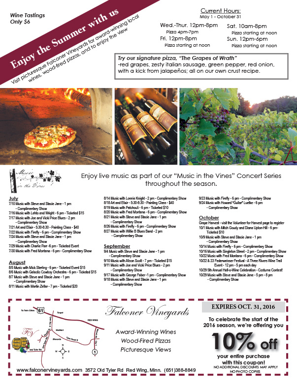 Falconer Vinyard We-Prints Plus Newspaper Insert, Any Door Marketing
