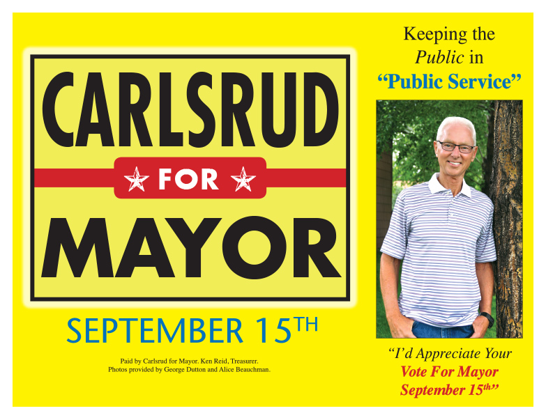 Carlsrud for Mayor We-Prints Plus Newspaper Insert by Any Door Marketing