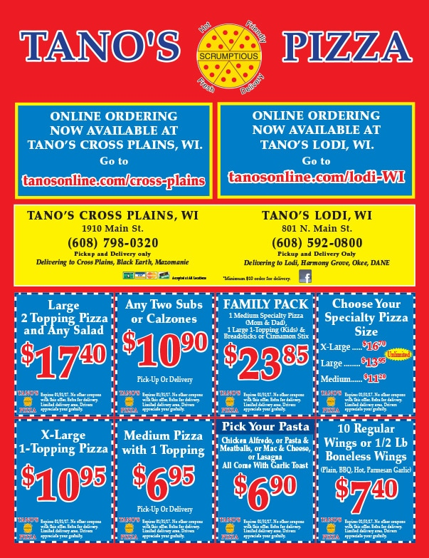 Tano's Pizza We-Prints Plus Newspaper Insert by Any Door Marketing