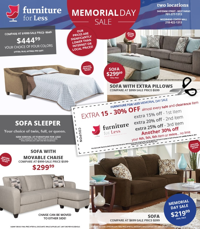 Furniture For Less We-Prints Plus Newspaper Insert by Any Door Marketing