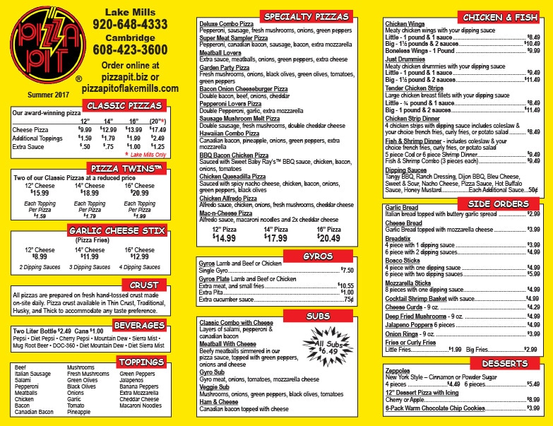 Pizza Pit Menu We-Prints Plus Newspaper Insert by Any Door Marketing