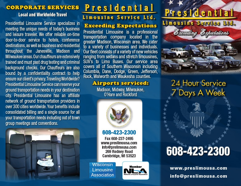 Presidential Limousine Service We-Prints Plus Newspaper Inserts by Any Door Marketing