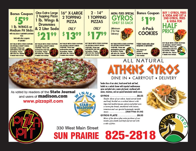 Pizza Pit & Athens Gyros We-Prints Plus Newspaper Inserts by Any Door Marketing