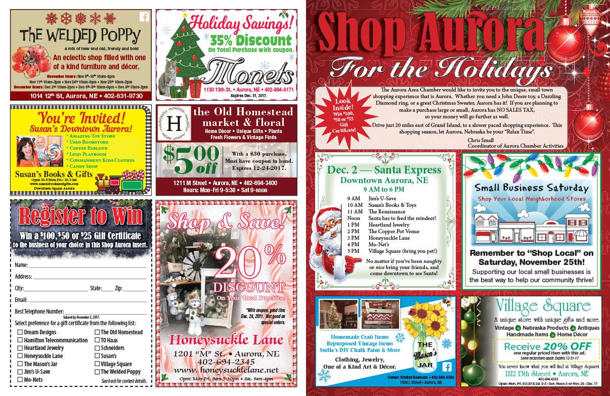 Aurora Shop Local We-Prints Plus Newspaper Insert printed by Any Door Marketing