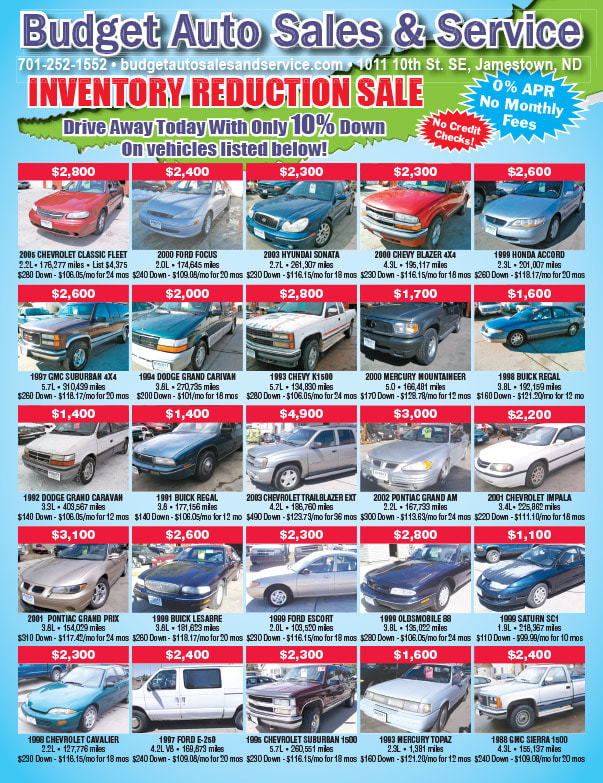 Budget Auto Sales We-Prints Plus Newspaper Insert printed by Any Door Marketing