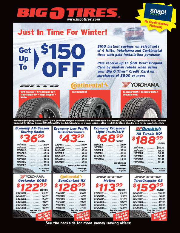Big O Tires We-Prints Plus Newspaper Insert printed by Any Door Marketing