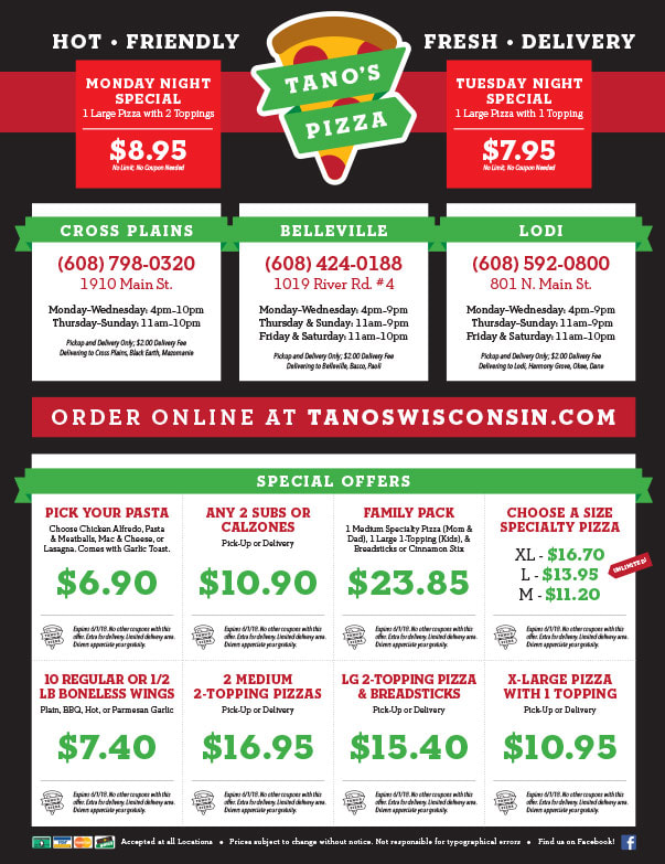 Tano's Pizza We-Prints Plus Newspaper Insert brought to you by Any Door Marketing