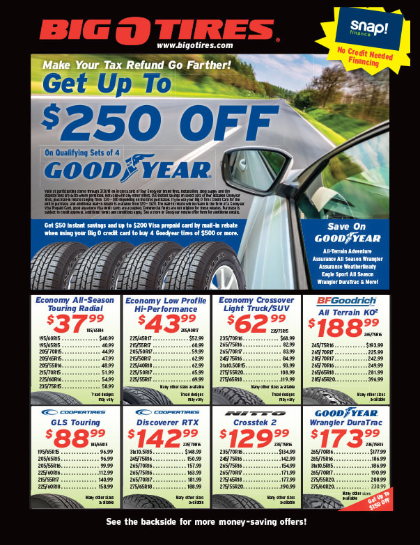 Big O Tires We-Prints Plus Newspaper Insert brought to you by Any Door Marketing