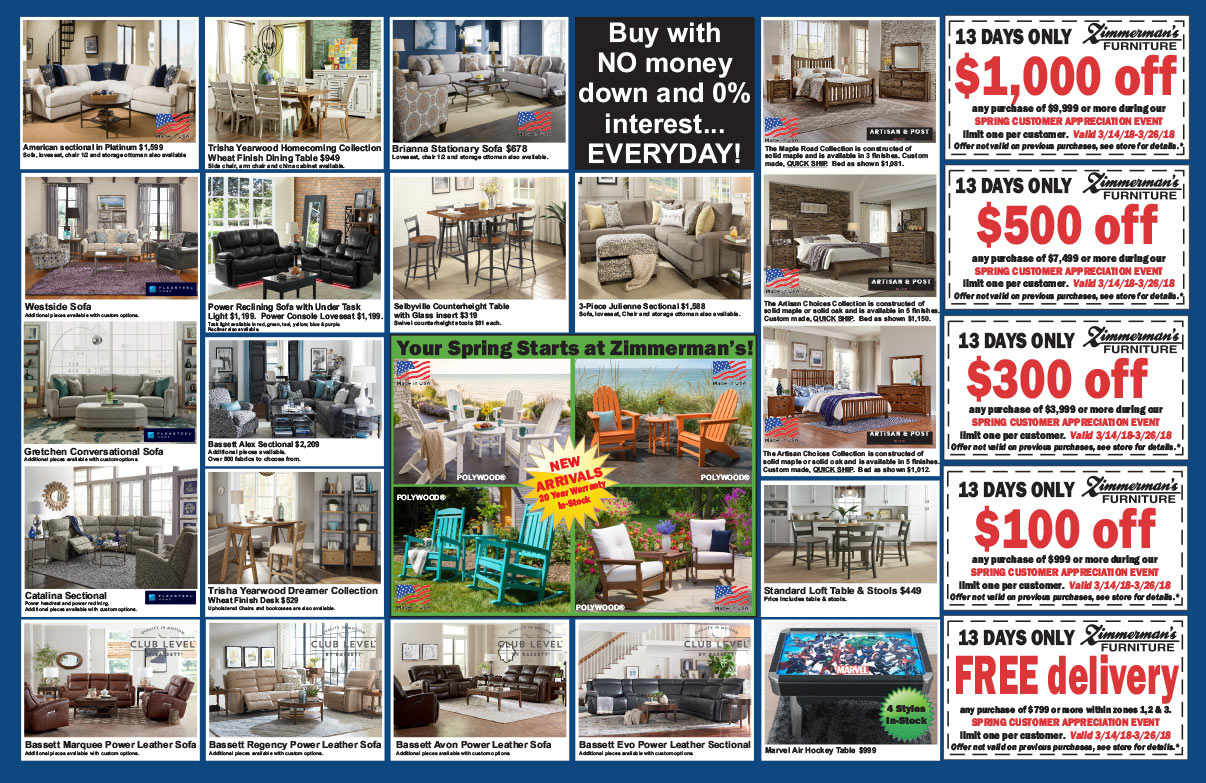 Zimmerman's Furniture We-Prints Plus Newspaper Insert printed by Any Door Marketing