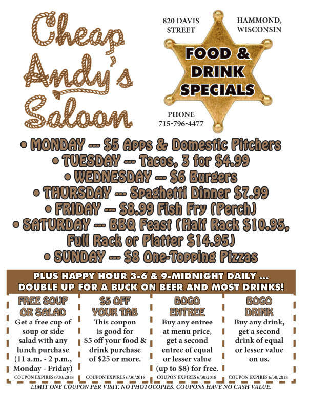 Cheap Andy's Saloon We-Prints Plus Newspaper Insert printed by Any Door Marketing