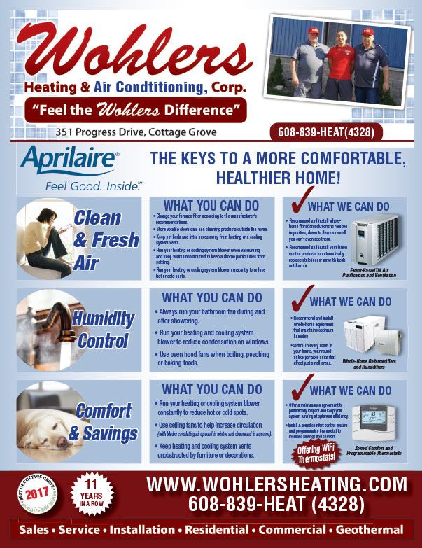Wohlers Heating and Air Conditioning We-Prints Plus Newspaper insert brought to you by Any Door Marketing