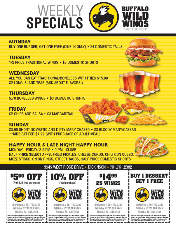 Buffalo Wild Wings We-Prints Plus Newspaper Insert brought to you by Any Door Marketing