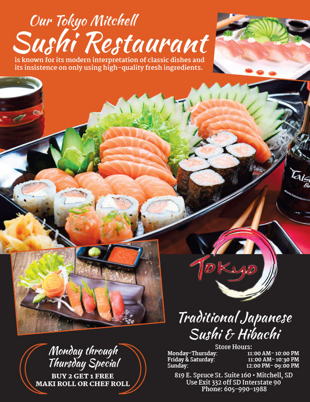 Tokio Sushi We-Prints Plus Newspaper Insert brought to you by Any Door Marketing