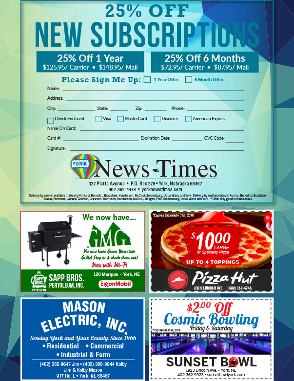 York News-Times We-Prints Plus newspaper insert brought to you by Any Door Marketing