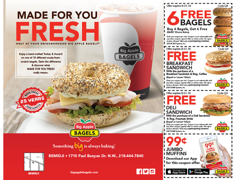Big Apple Bagels We-Prints Plus Newspaper Insert brought to you by Any Door Marketing