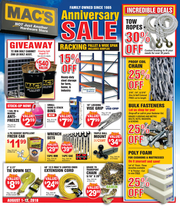 Mac's Hardware We-Prints Plus Newspaper Insert brought to you by Any Door Marketing