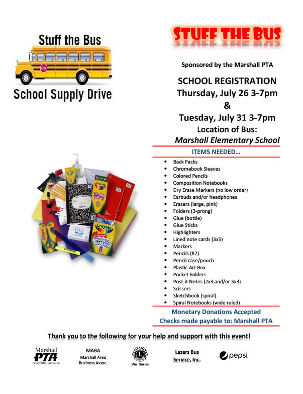 Marshal PTA Stuff the Bus We-Prints Plus Newspaper Insert brought to you by Any Door Marketing