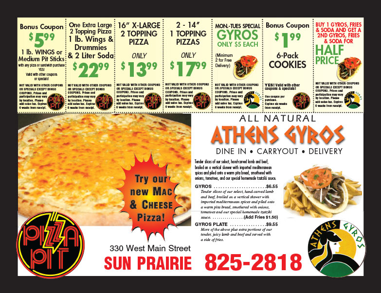 Pizza Pit We-Prints Plus Newspaper Insert brought to you by Any Door Marketing