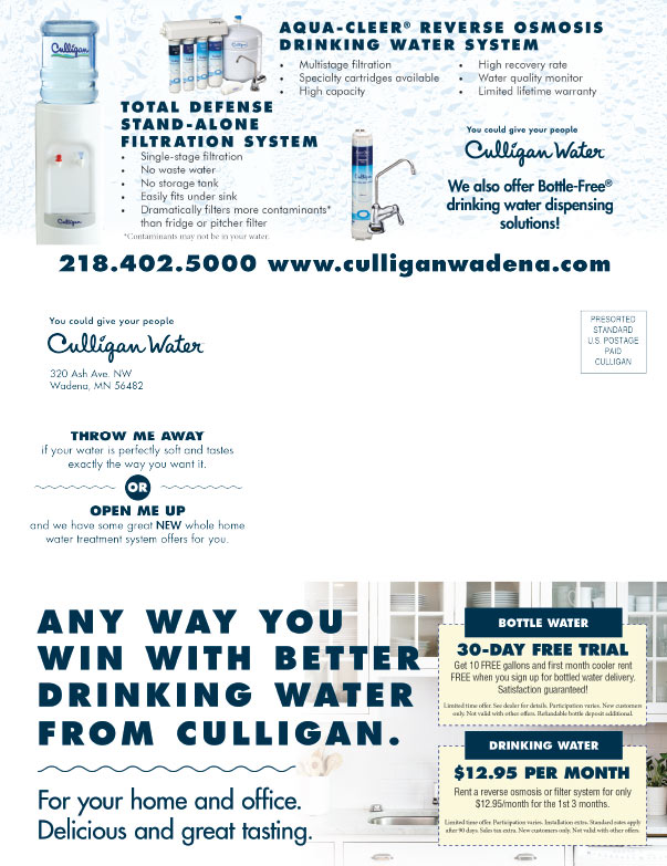 Culligan Water We-Prints Plus Newspaper Insert brought to you by Any Door Marketing