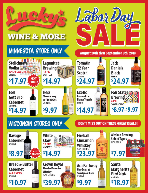 Lucky's Wine and More We-Prints Plus Newspaper Insert brought to you by Any Door Marketing