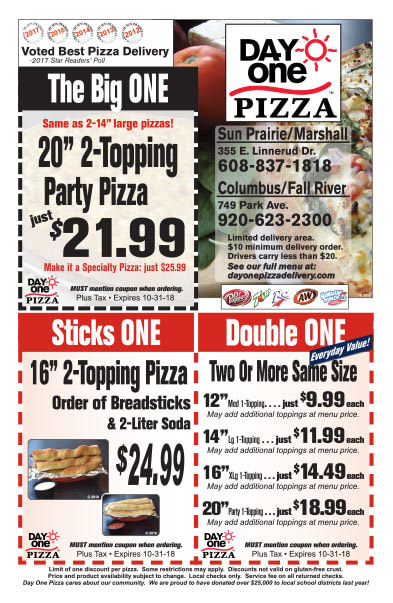Day One Pizza We-Prints Plus Newspaper Insert brought to you by Any Door Marketing