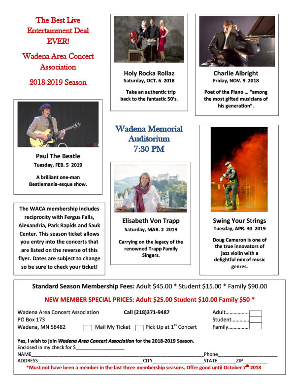 Wadena Area Concert Association We-Prints Plus Newspaper Insert brought to you by Any Door Marketing