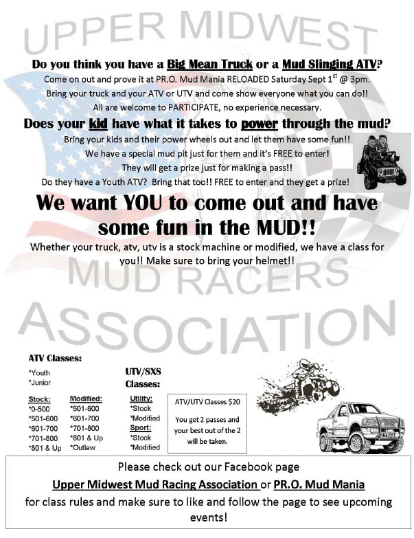 Upper Midwest Mud Racers Association We-Prints Plus Newspaper Insert brought to you by Any Door Marketing