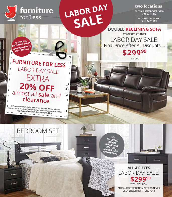 Furniture for Less We-Prints Plus Newspaper Insert brought to you by Any Door Marketing