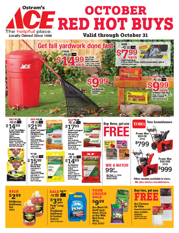 Ostrom's Ace Hardware We-Prints Plus Newspaper Insert printed by Any Door Marketing