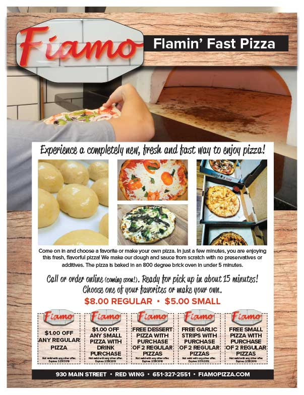 Fiamo Flamin' Hot Pizza We-Prints Plus Newspaper Insert Printed by Any Door Marketing