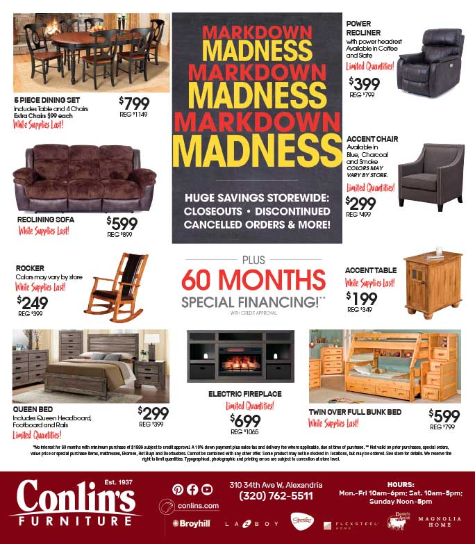 Conlin's Home Furniture We-Prints Plus Newspaper Insert Printed by Any Door Marketing