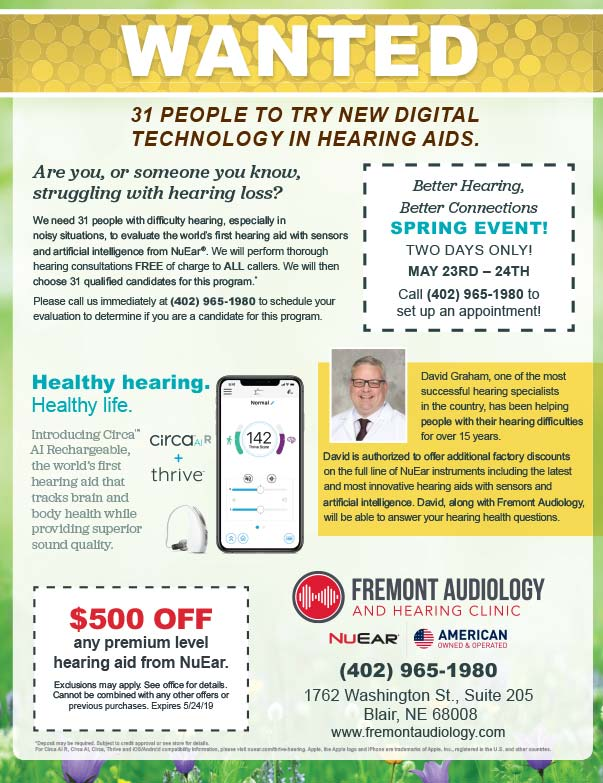 Fremont Audiology and Hearing Clinic  We-Prints Plus Newspaper Insert printed by Forum Communications Printing