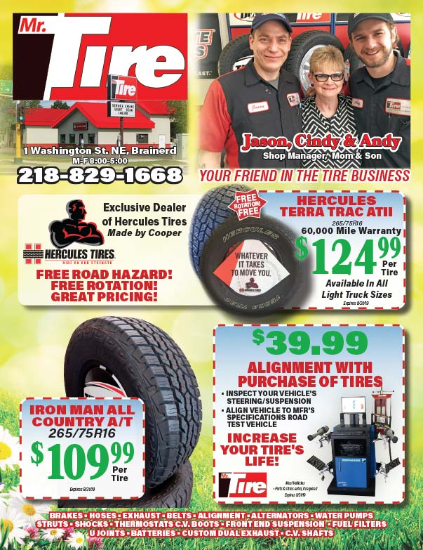 Mr. Tire We-Prints Plus Newspaper Insert printed at Forum Communications Printing