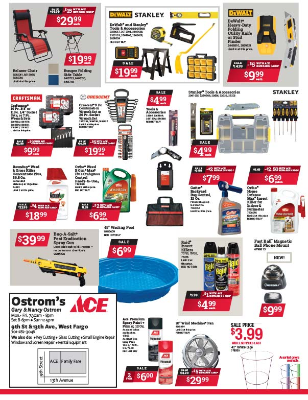 Ostrom's Ace Hardware We-Prints Plus Newspaper Insert Printed by Forum Communications Printing