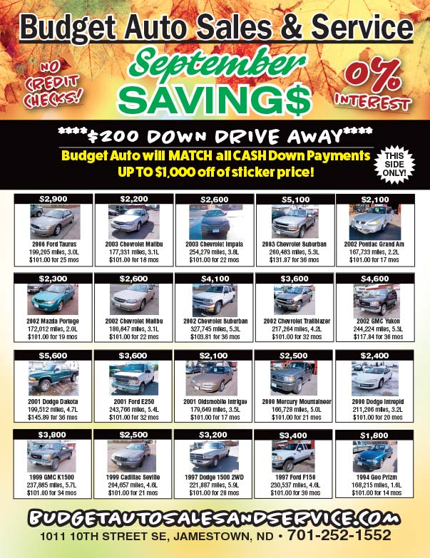 Budget Auto Sales We-Prints Plus Newspaper Insert printed by Forum Communications Printing