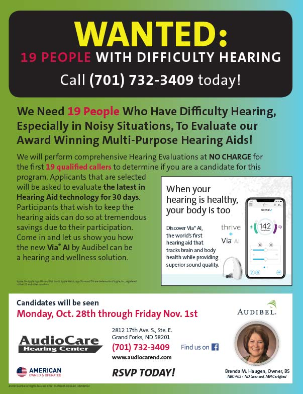 AudioCare Hearing Center We-Prints Plus Newspaper Insert printed at Forum Communications Printing